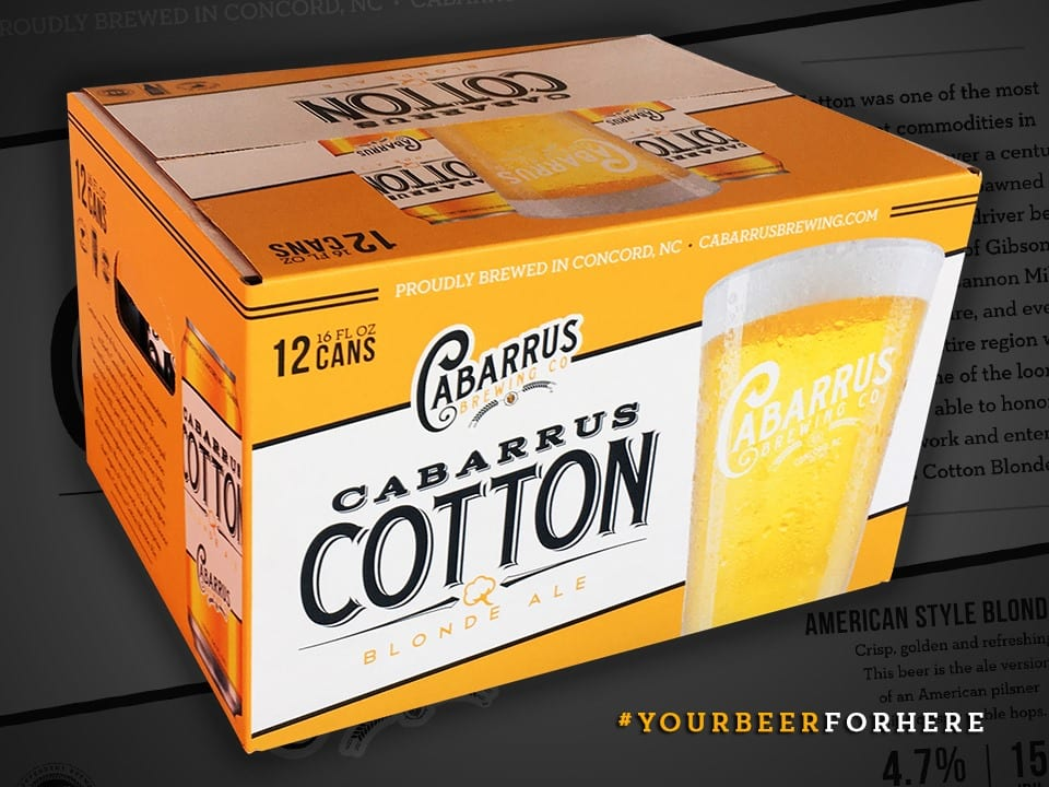 Marketing craft beer for Cabarrus Brewing Co with custom packaging.